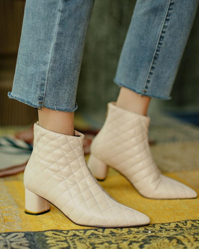 Square Embossing Pointed Toe Block Heel Ankle Boots