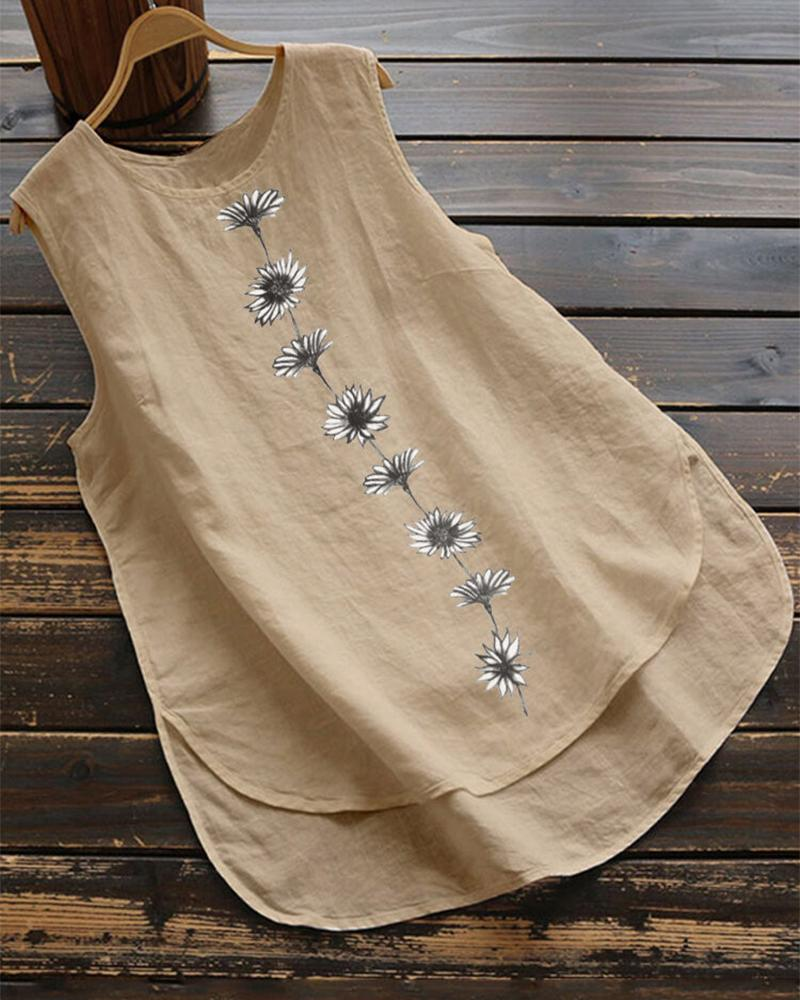 Brief Daisy Print Sleeveless Tank Top