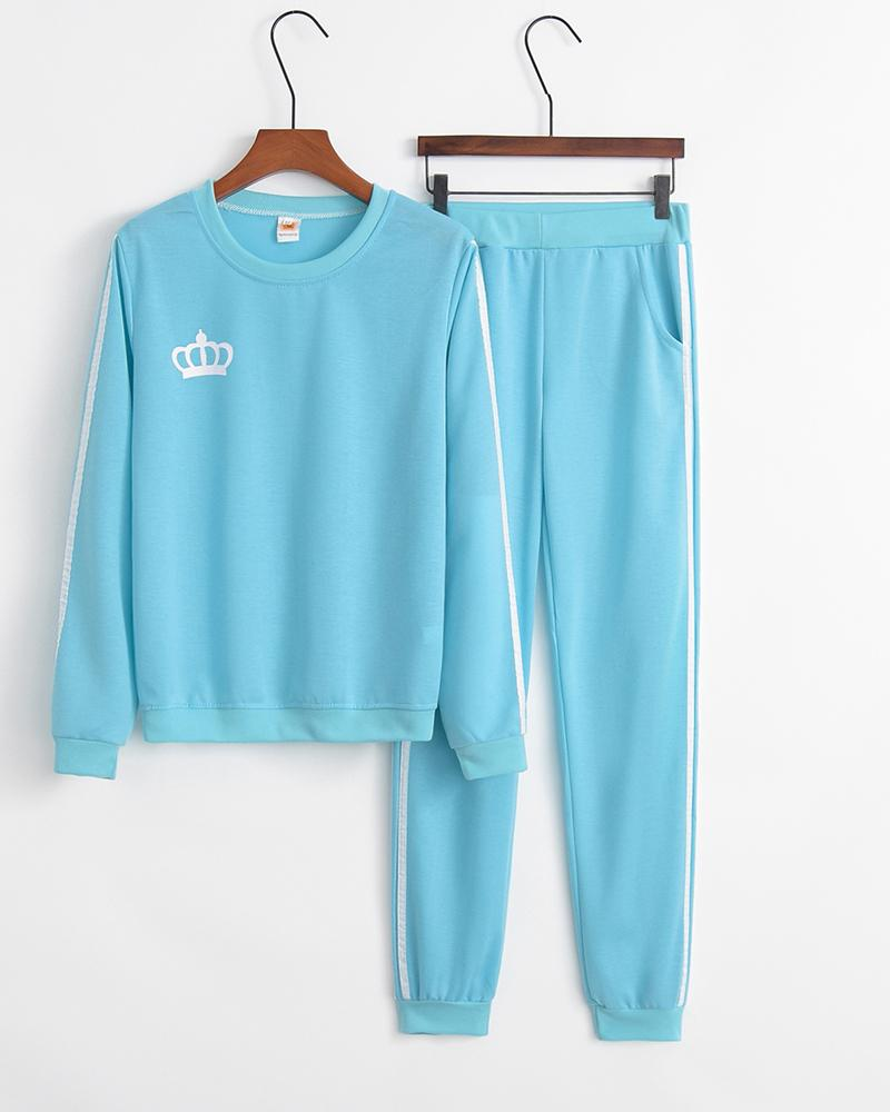 Logo Print Colorblock Long Sleeve Sweatshirts Suit Sets