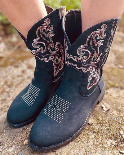 Round-toe Embroidery Western Booties