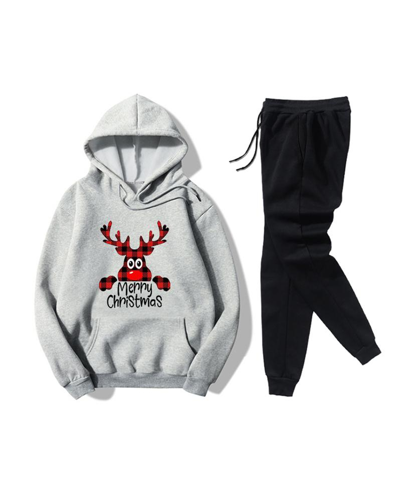 Christmas Printing Long Sleeve Hooded Sweatshirt Sets