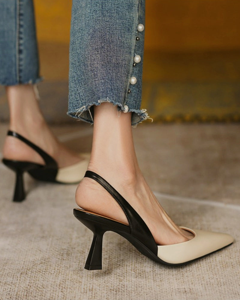 Colorblock Pointed-toe High Heel Sandals