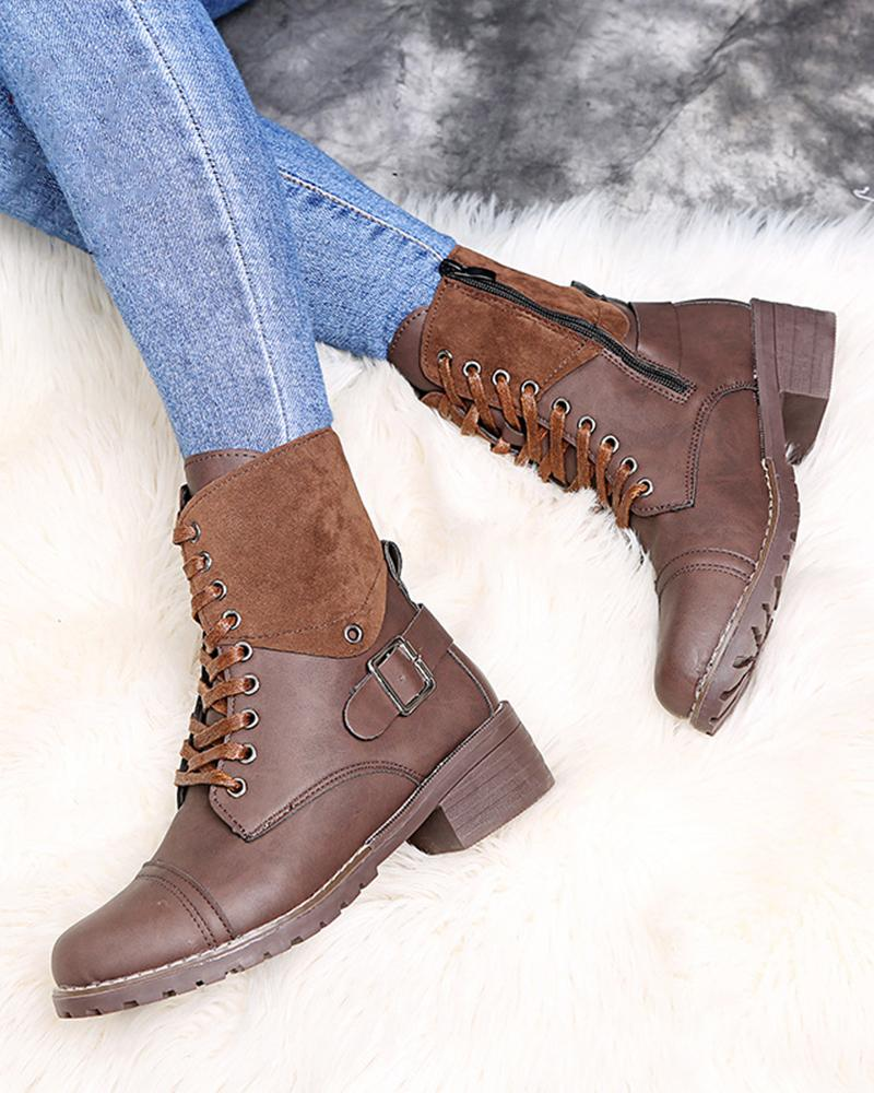 Solid Splicing Round-toe Martins Lace-up Boots