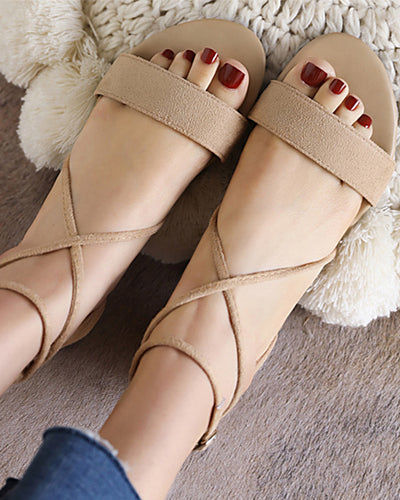 Solid Round-toe Open-toe Cross Banded Zip-up Closure Sandals