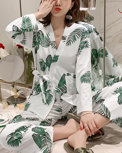 Leaf Print Long Sleeve Lace-up Blouse With Pants Pajamas Sets