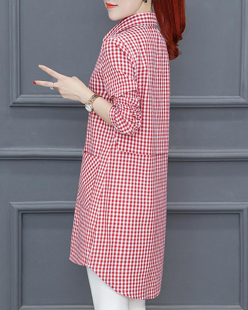 Casual Comfy Gingham Mid-length Shirt
