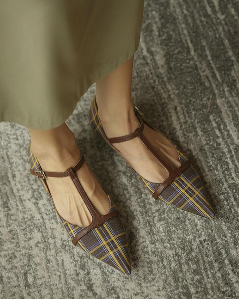 Retro Grid Pointed Flat Slip-on
