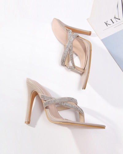 Crystal Band Hollow Sandal Heels