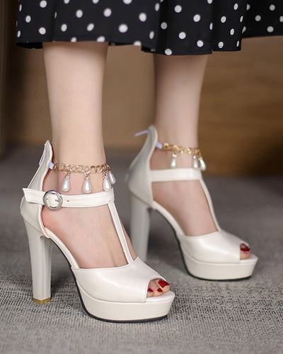 Fish Mouth Solid Color PU Leather Splicing One Buckle Platform High Heels