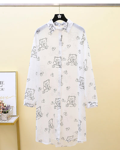 Bear Patterns Print Long Sleeve Button-up Blouse