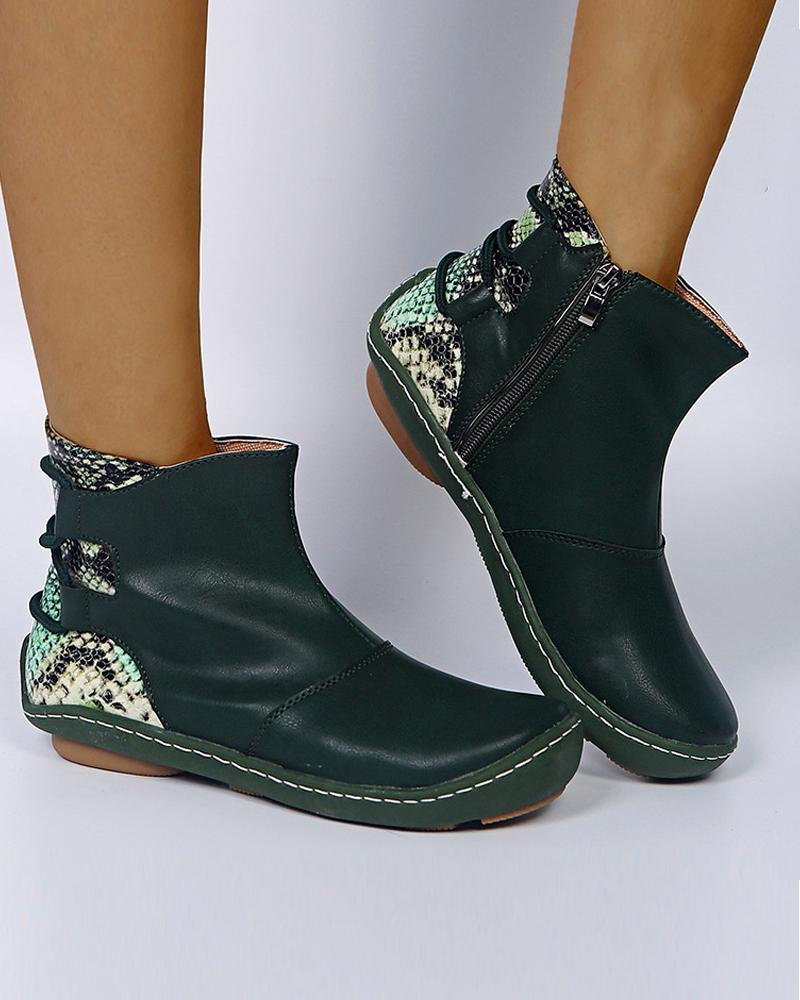 Colorblock Snakeskin Round-toe Ankle Boots