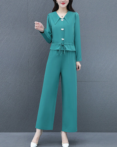 Chic Solid Color Long Sleeve Blouse And Wide Leg Pants Suit Sets