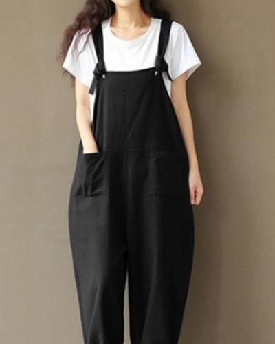 Solid Front Pocket Suspender Jumspuit