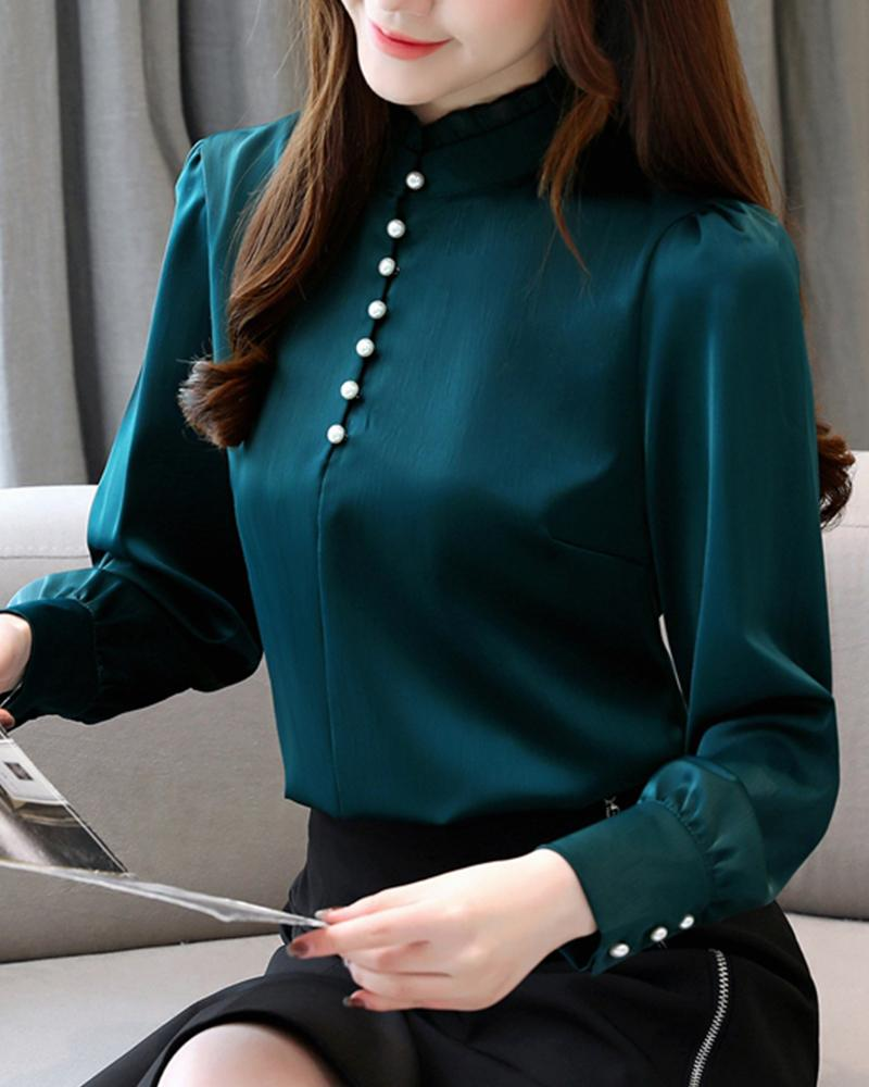 Stand Collar Beaded Chiffon Blouse