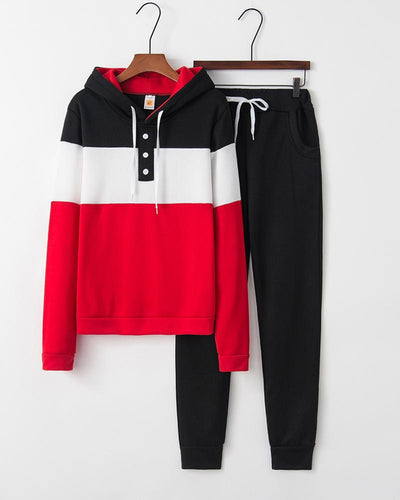 Colorblock Hooded Top & Drawstring Pants Set
