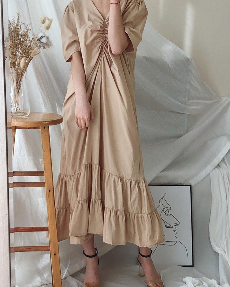 Solid Ruched Tiered Midi Dress