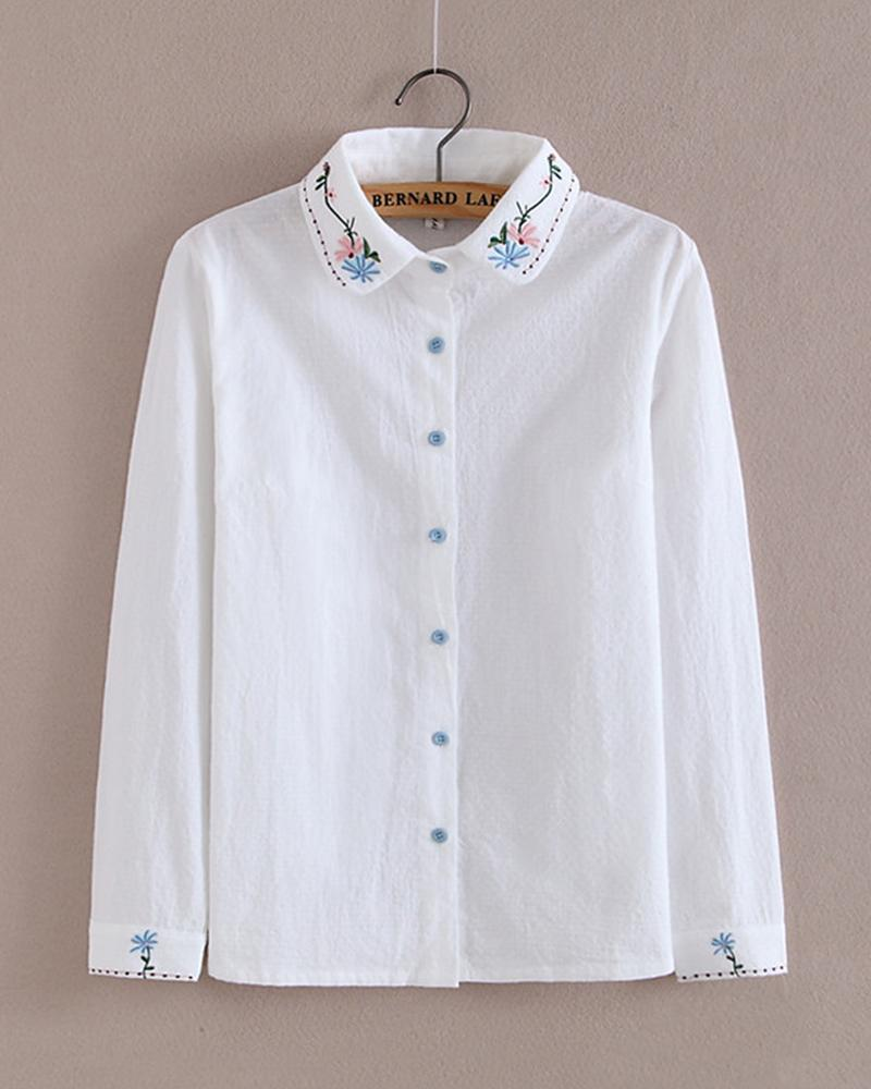 Off White Embroider Button-down Shirt