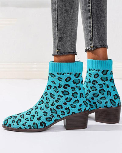 Leopard Pointed-toe Low Heel Ankle Boots