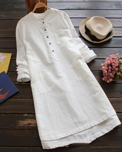 Solid Color Long Sleeve Loose Midi Dress