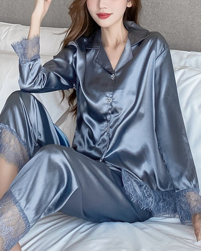 Solid Color Splicing Lace Ice Silk Long Sleeve Pajamas Sets