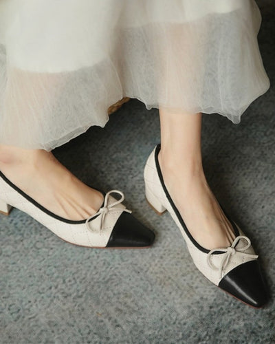 Pointed-toe Color Block Splicing Bow Shallow Mouth High Heels