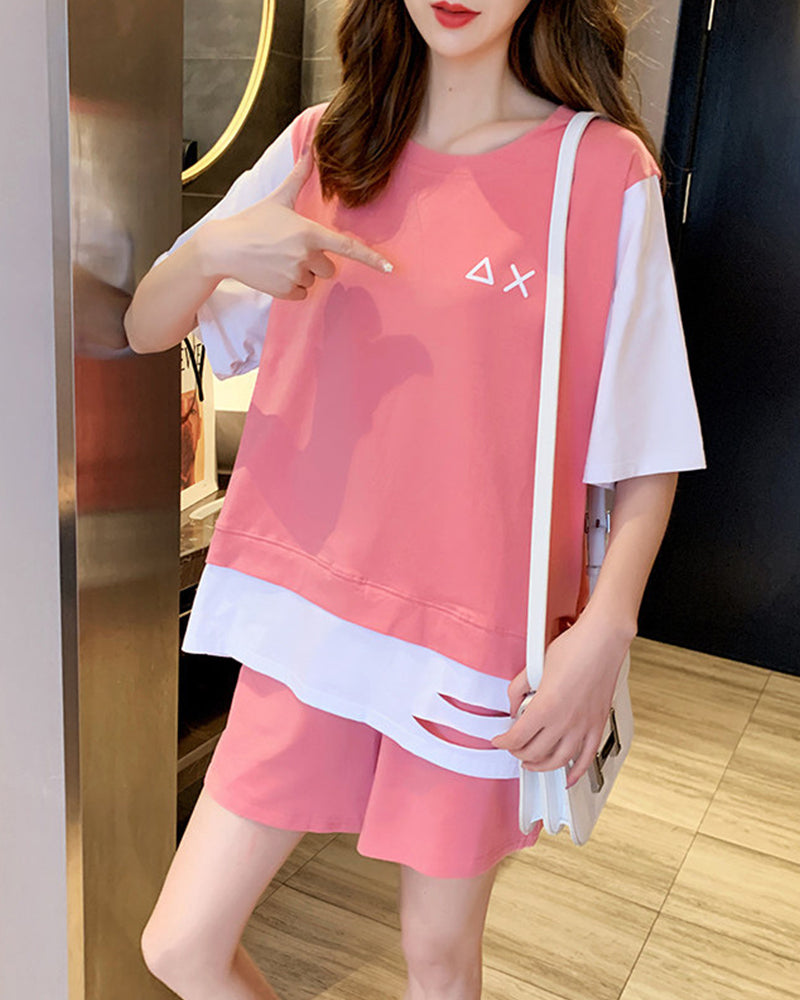 Color Block Splicing Cartoon Print Short Sleeve T-shirt With Short Pants Suit Sets
