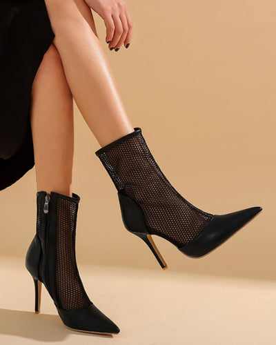 Pointed-toe Fishnet High Heel Boots