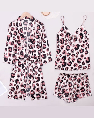 Leopard Long Sleeve Cover Up Sleepwear With Strap Tanks And Shorts Pajamas Sets