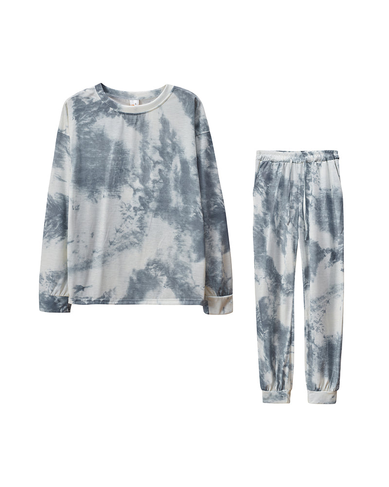 Tie Dye Long Sleeve Loose Suit Sets