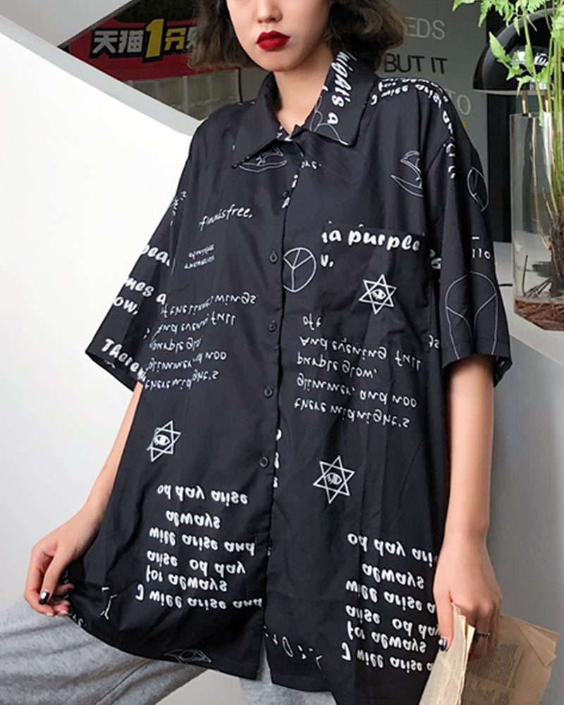 Letter Print Short Sleeve Loose T-shirt