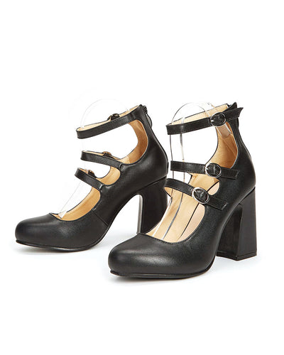 Round-toe Solid Color Splicing Buckles Jenny Shoes