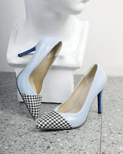 Plaid Patch Pointed-toe High Heel Sandals