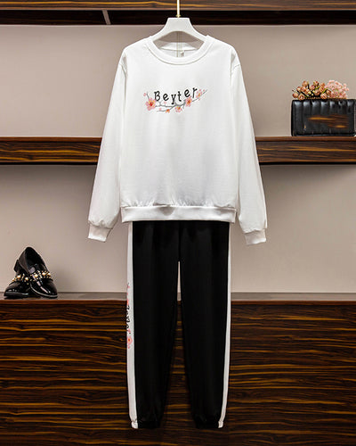 Floral&Letter Print Long Sleeve Sweatshirt Sets