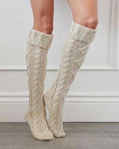 Solid Knitted Twisted Over-knee Pile Socks
