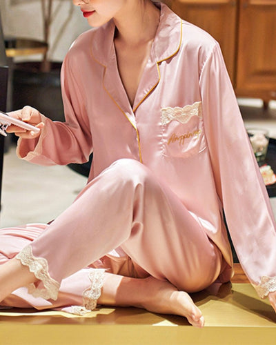 Solid Long Sleeve Loose Button-up Blouse With Pants Pajamas Sets