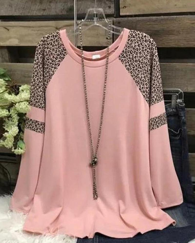 Colorblock Leopard Long Sleeve T-shirts