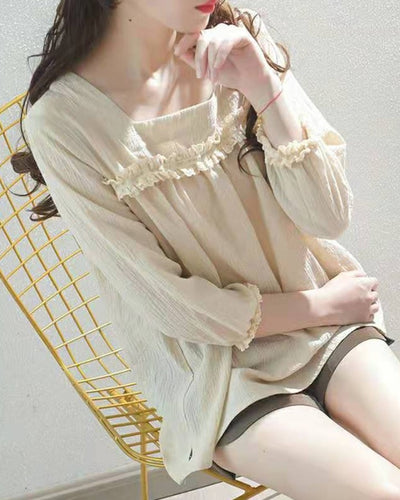 Solid Long Sleeve Loose Doll Shirts Blouse