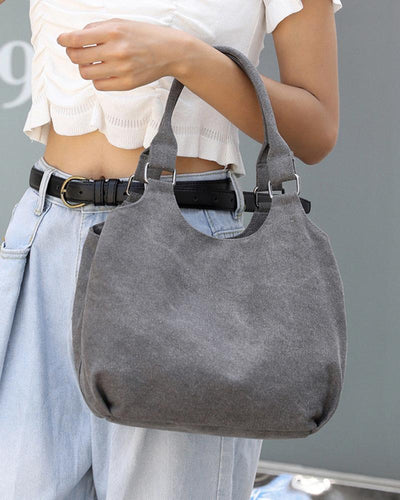 Solid Canvas Shoulder Bag Handbag