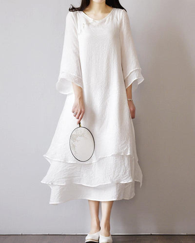 Linen Layered Midi Dress