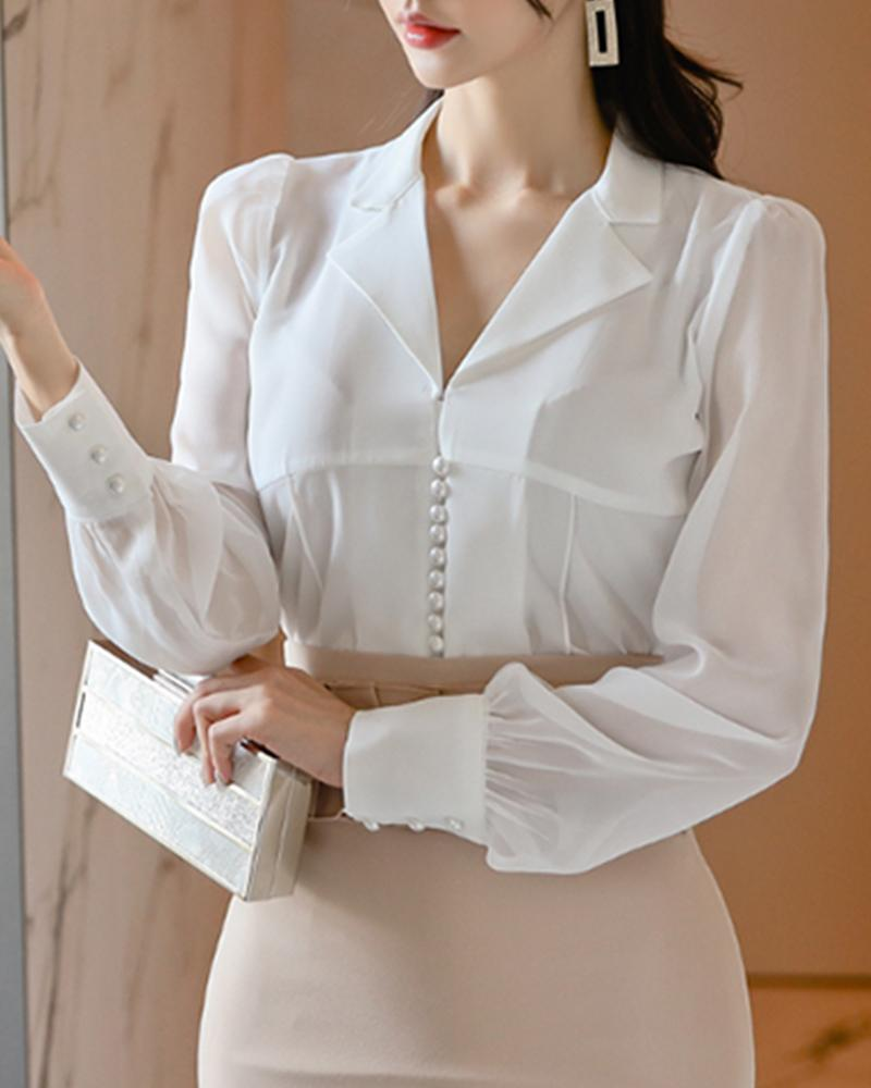 Pearl Embellished Long Sleeve Shirt