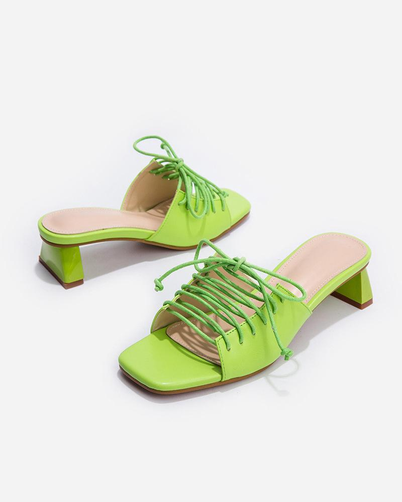Peep Toe Lace-up Heeled Sandals