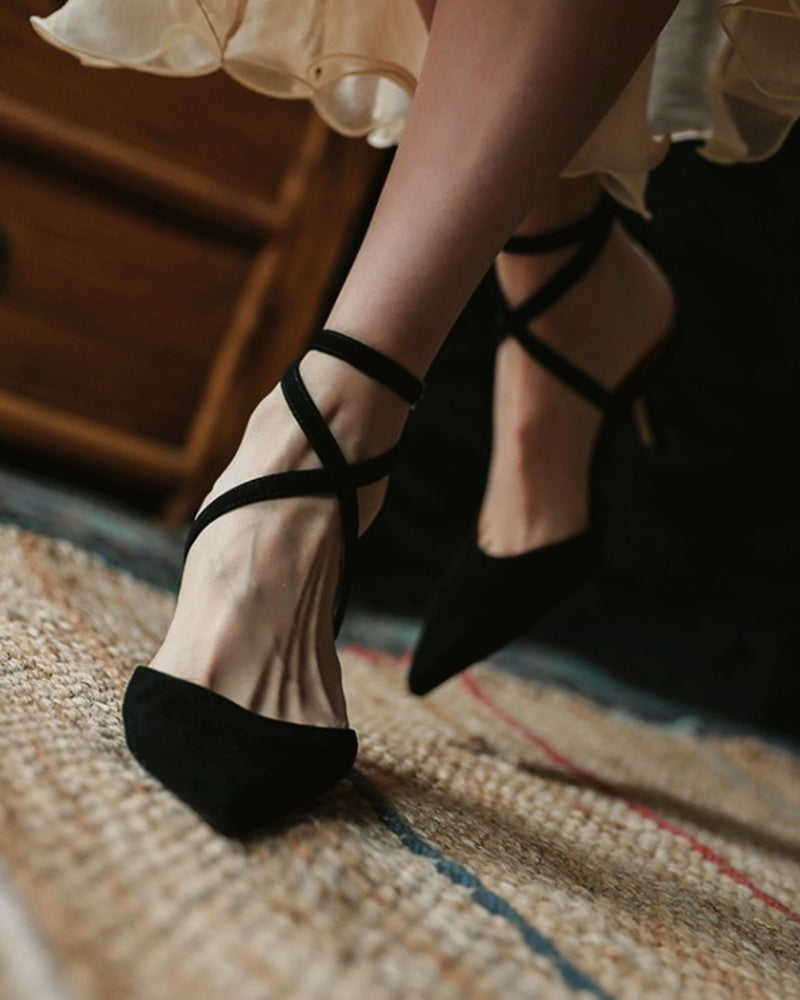 Solid Suede Pointed-toe High Heel Strappy Sandals