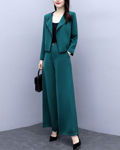 Solid Long Sleeve Coats With Wide Leg Pants Suit Sets