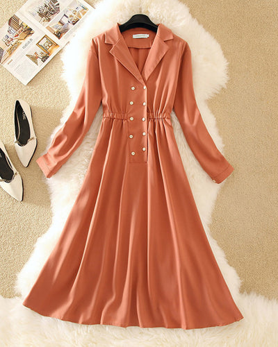 Solid Color Long Sleeve Waist Skinny Dress