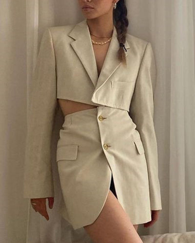 Solid Color Buttons Long Sleeve Blazer And Skirt Suit Sets