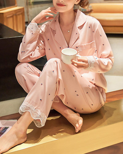 All Over Print Splicing Lace Long Sleeve Silk 2-Piece Pajamas Sets
