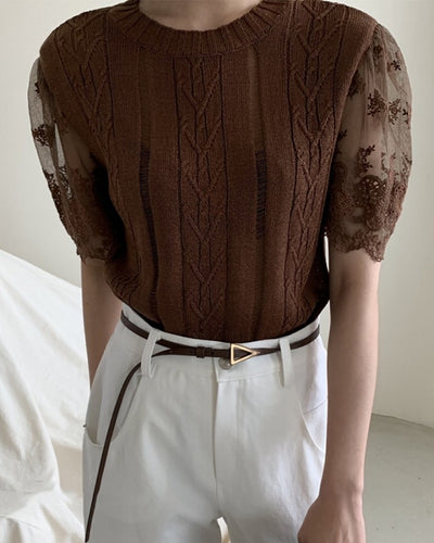 Solid Color Splicing Lace Knitted Short Sleeve Shirt
