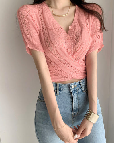 Solid Short Sleeve Button-up Blouse