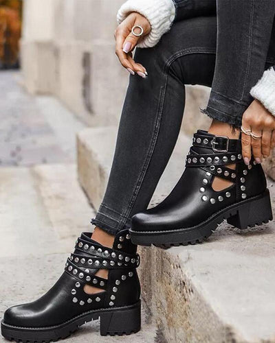 Studded Solid Round-tope Cut-out Boots