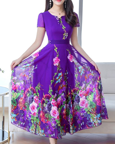 Multicolor Floral Print Skinny Waist Short Sleeve Chiffon Maxi Dress